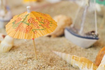 Umbrella on a beach in an aquarium