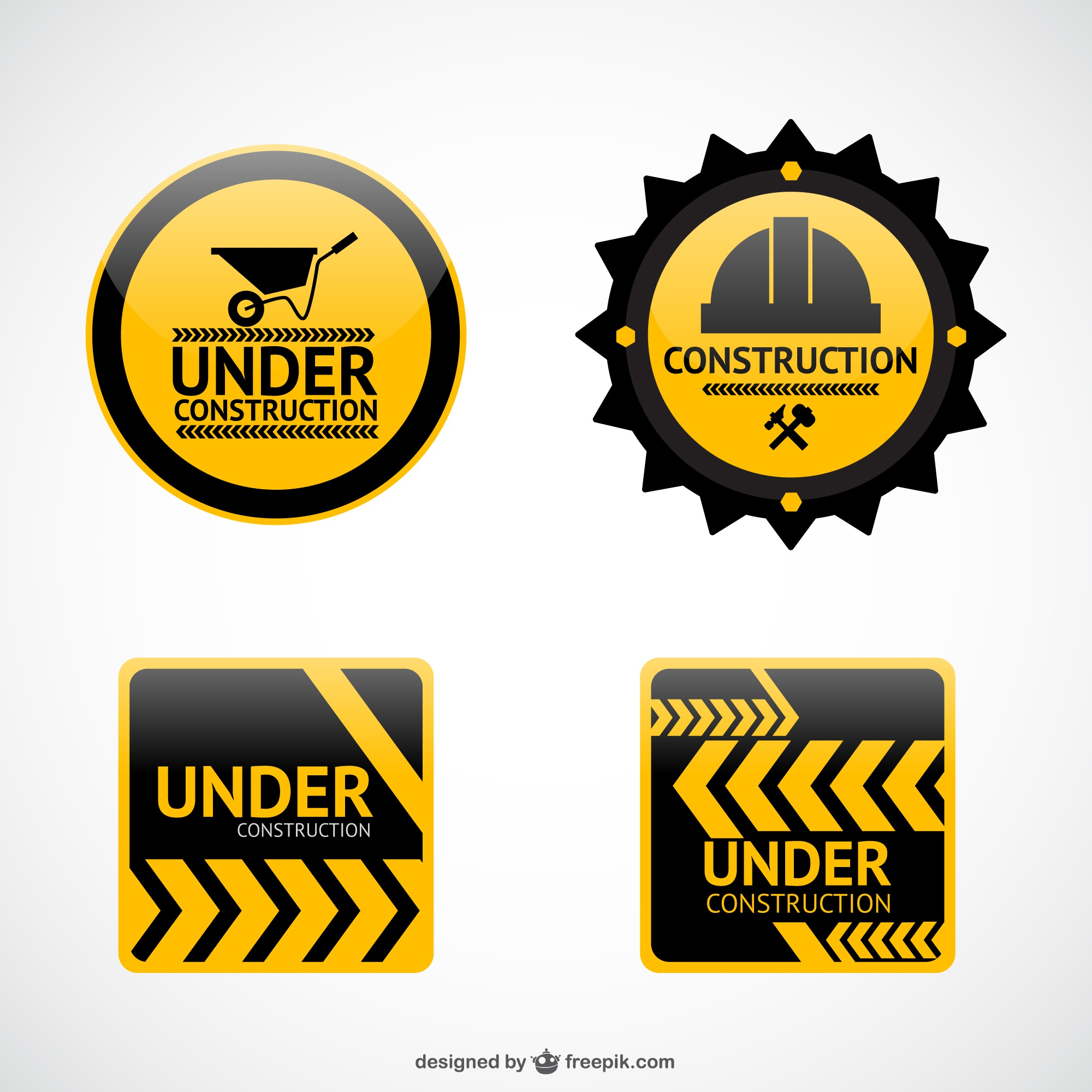 Under construction vector stickers