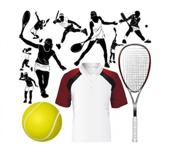 unique tennis equipment set vector