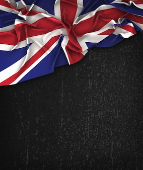 United Kingdom Flag Vintage on a Grunge Black Chalkboard With Space For Text