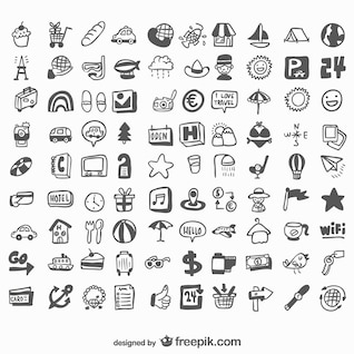 Universal hand drawn set of icons