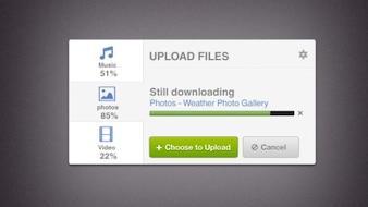 Upload screen with progress bar