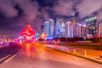 Urban road and building night scene