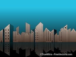 Urban skyline buildings illustration vector