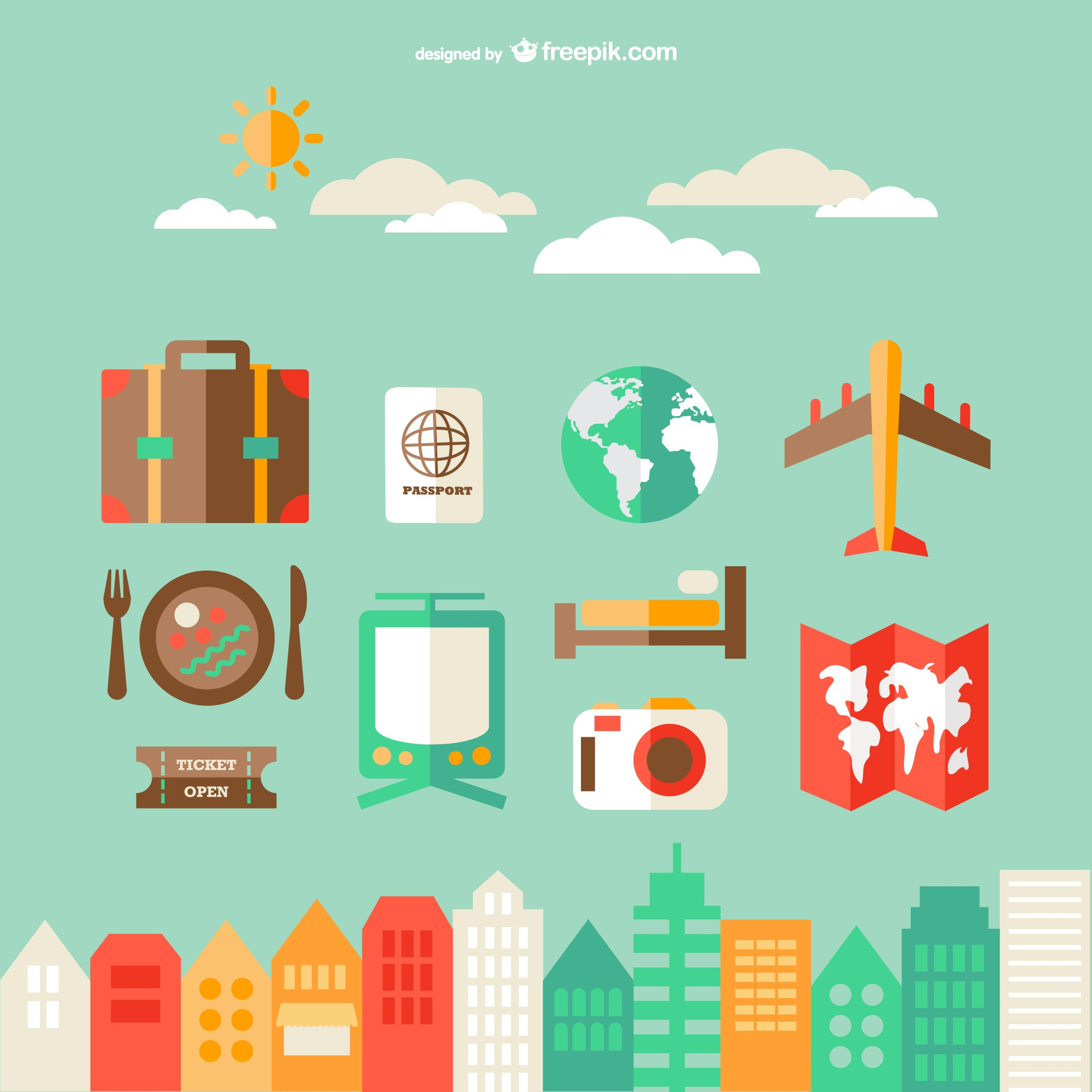 Urban travel kit vector