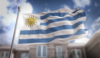 Uruguay Flag 3D Rendering on Blue Sky Building Background