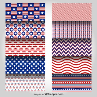 USA colors vector patterns set