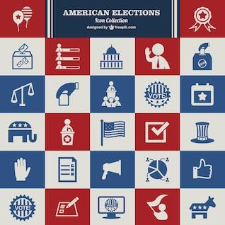 USA Election vector set of icons