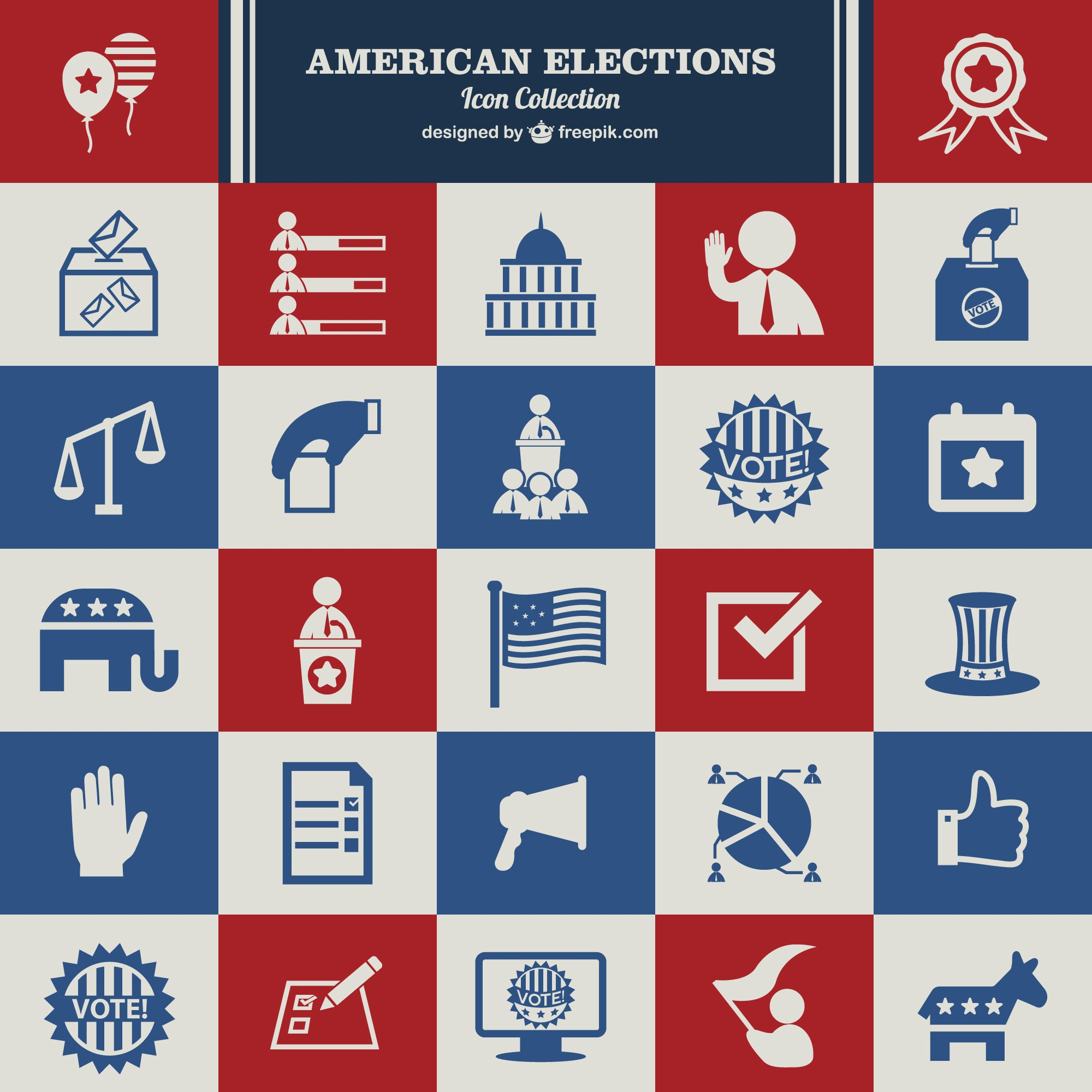 USA Election vector set of icons