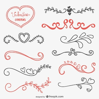 Valentine calligraphic ornaments