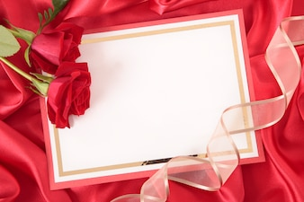 Valentine card with roses and ribbon