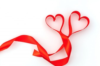 Valentine Heart. Red Silk Ribbon. Love Symbol .