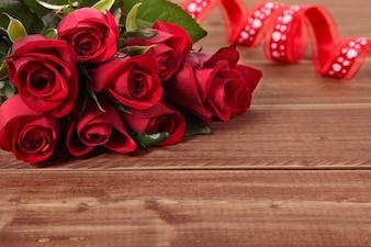 Valentine roses on wood