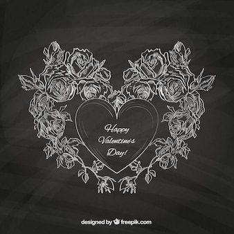 Valentine's card with blackboard texture