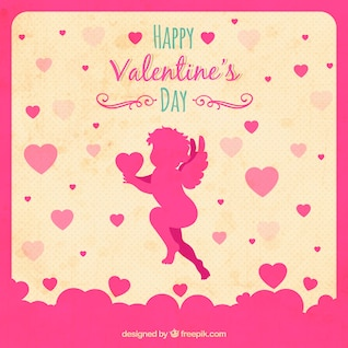 Valentine's card with Cupid silhouette