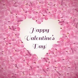 Valentine's card with pink petals