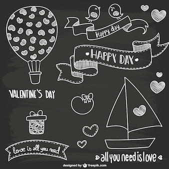 Valentine's Day blackboard style doodles