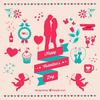 Valentine's day elements set