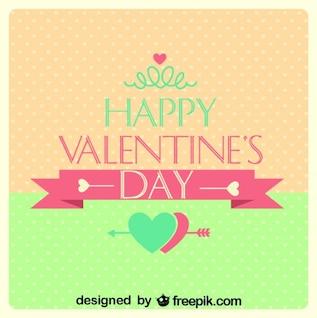 Valentine's Day Retro Card Polka Dots Heart Design