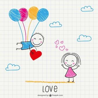 Valentine's romantic scribble card