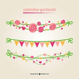 Valentine vector garlands