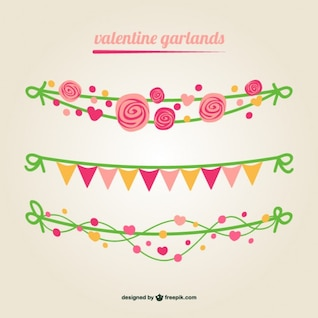 Valentine vector garlands