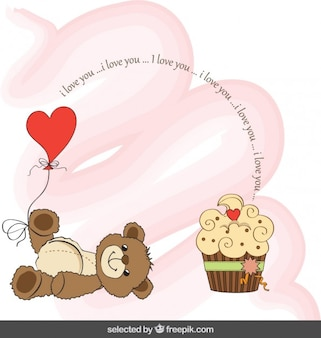 Valentines card with adorable teddy bear and cupcake