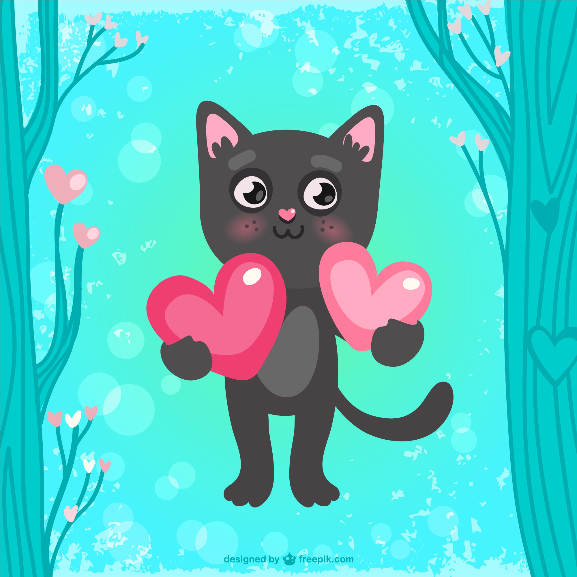 Valentines card with cat