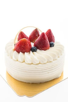 Vanilla cream cake with strawberry on top
