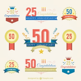variety of anniversary badges
