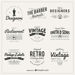 Variety of badges in retro style