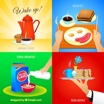 Variety of breakfast icons