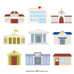 Variety of cartoon buildings
