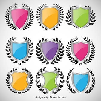 Variety of colored shields