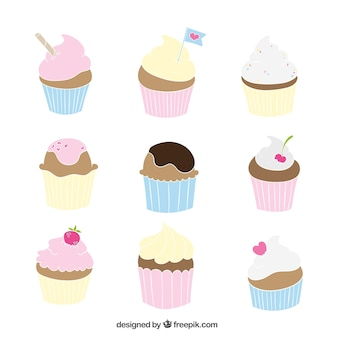Variety of delicious cupcakes