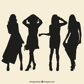 Variety of female silhouettes