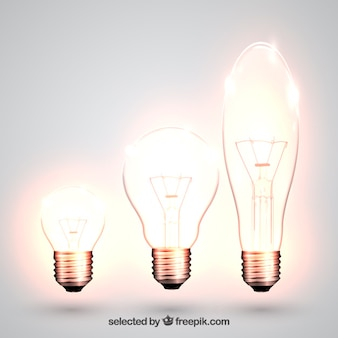 Variety of glowing light bulbs