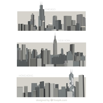 Variety of grey cities
