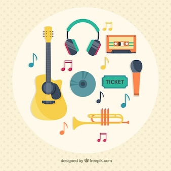 Variety of music icons