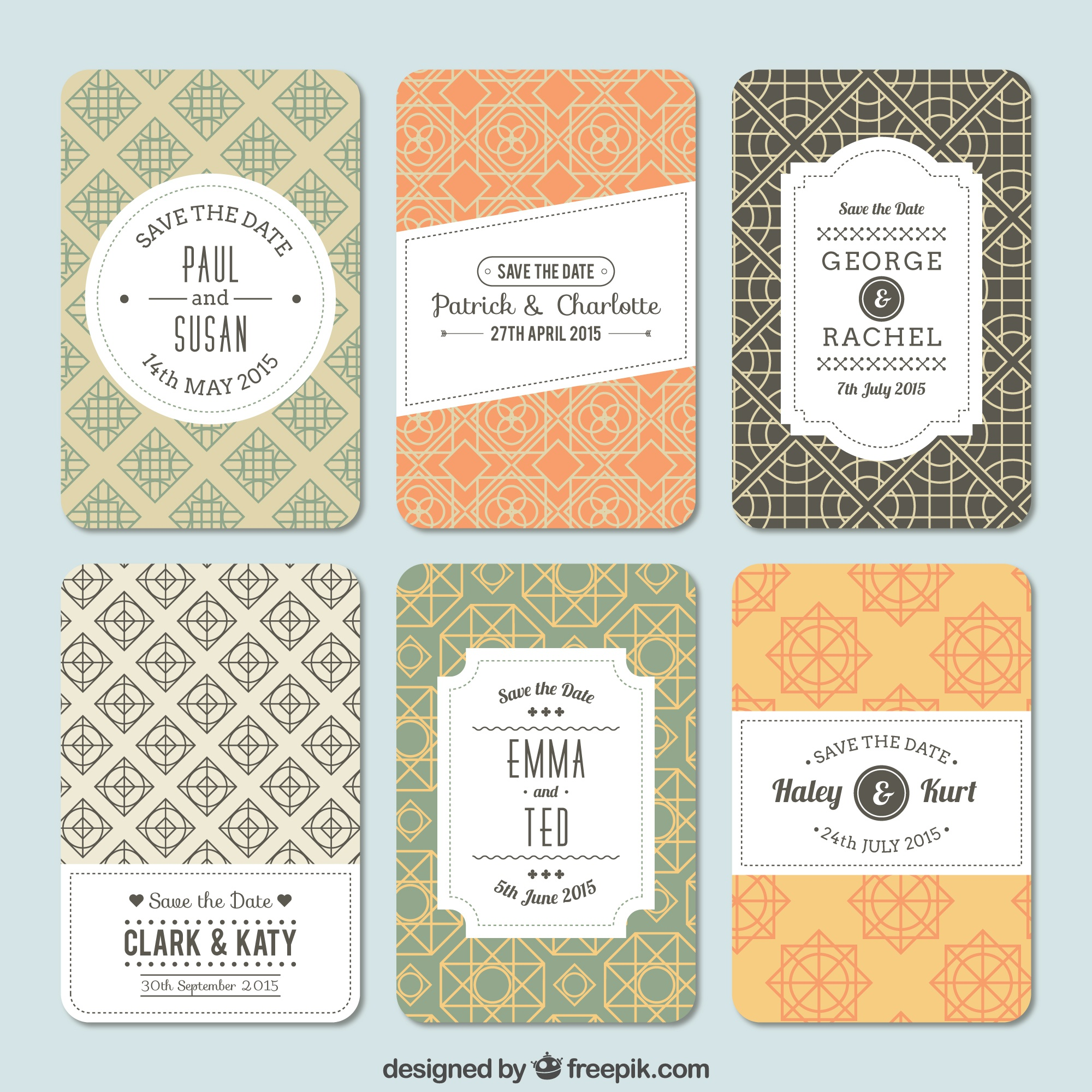 Variety of patterns for wedding invitation