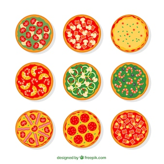 Variety of pizzas