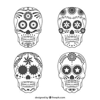 Variety of sugar skulls