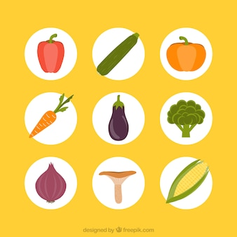 Variety of vegetables icons
