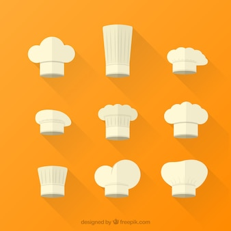 Variety of white chef hats