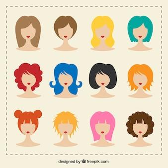 女性のヘアスタイルのバラエティ