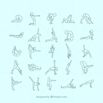 Variety of yoga postures