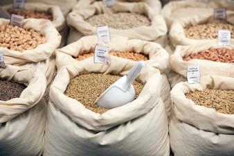 Various grains in bags
