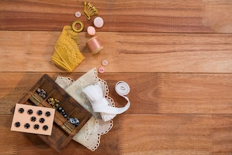Various types of buttons with lace fabric