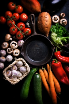 Various vegetables surrounding an empty black pan