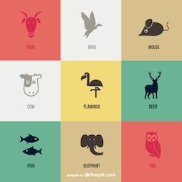 Vector animal pictograms set